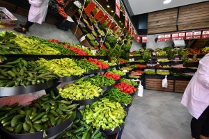 Fruit and vegetable shelf in the supermarket